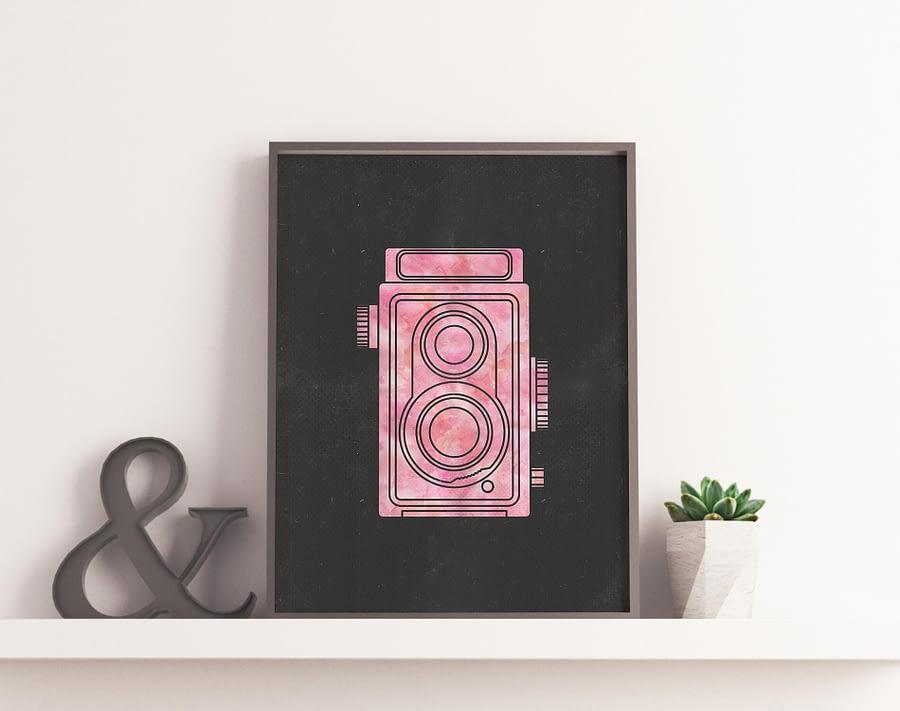 Vintage Camera Poster (Pink) - Moderne Vintage Wanddecoratie