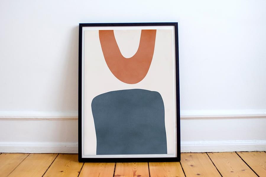 abstracte vormen poster en canvas print - minimalistische wanddecoratie