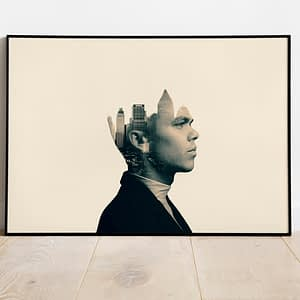 Man and the City Double Exposure Poster en Print