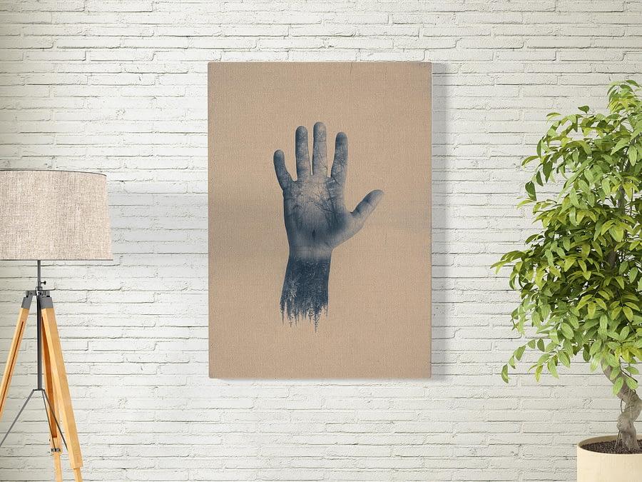 Double exposure poster en print met hand