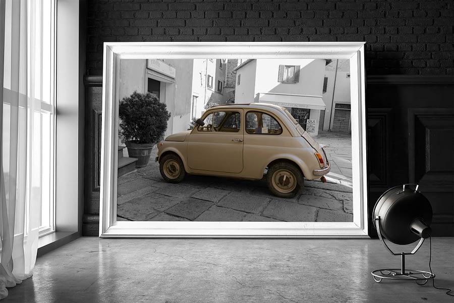 Fiat 500 Oldtimer Poster - Vintage Wanddecoratie