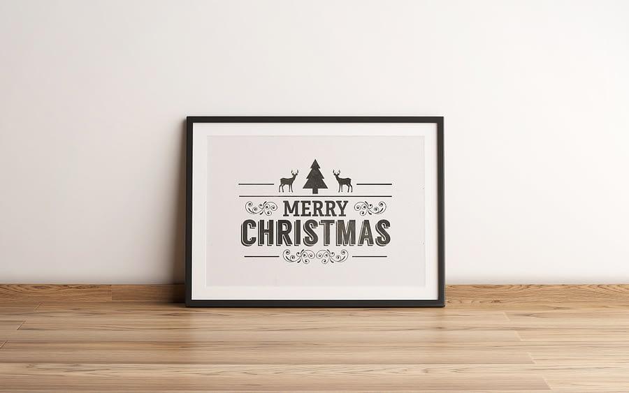 vintage kerst poster en canvas print zwart