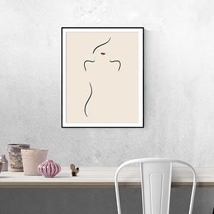 Vrouw met Rode Lippen - Abstracte Poster