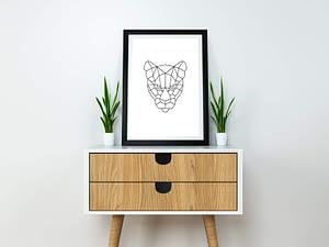 Geometric Tiger - Geometrische Poster en Print