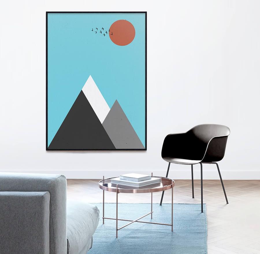 Abstract Berglandschap Scandinavische Wanddecoratie