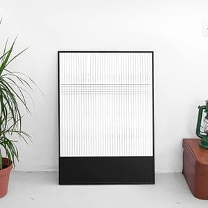 Abstracte zwart wit poster Scandinavische Poster - Strepen Patroon Print