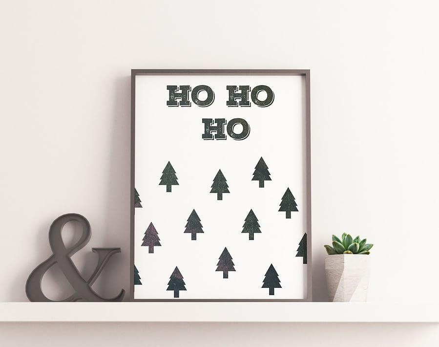 Ho Ho Ho Kerst poster - Scandinavische muurdecoratie