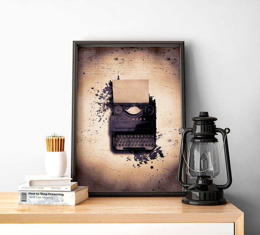 Vintage Poster en Canvas Print met Typemachine