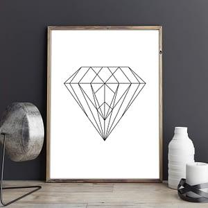 Geometric Diamond Scandinavische Poster en Print