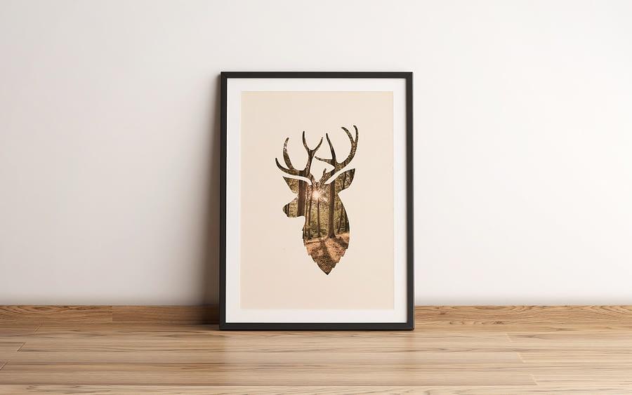 Deer and the forest Scandinavische poster en print