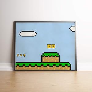 Mario's World Pixel Art Wanddecoratie