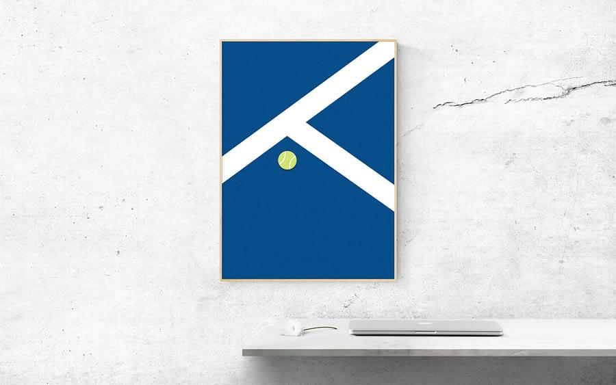 tennisbaan poster blauw
