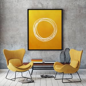 Abstracte Wanddecoratie Gouden Cirkels Poster