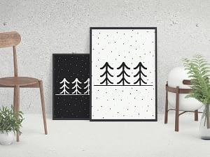 Scandinavische poster design Dennenbomen in de sneeuw