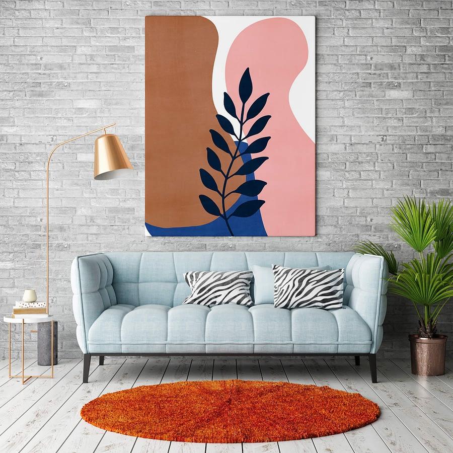 Botanische Poster en Canvas Print - abstracte vormen en takje
