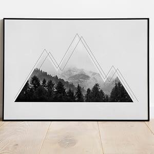 Grungy Mountains, Bergen Poster - Scandinavische Muurdecoratie