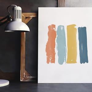 Minimalist Paint Brushes - Abstracte verf poster en print
