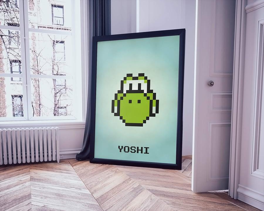 Retro poster en print met pixel art Yoshi