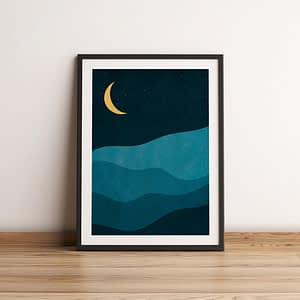 Nighttime in the mountains - abstracte poster en canvas print