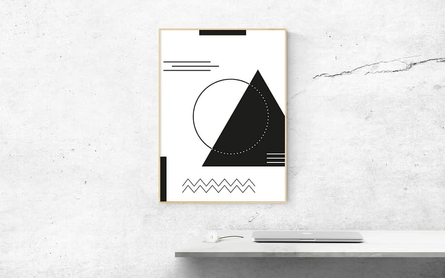 Geometrische Zwart-Wit Poster - Abstracte Wanddecoratie