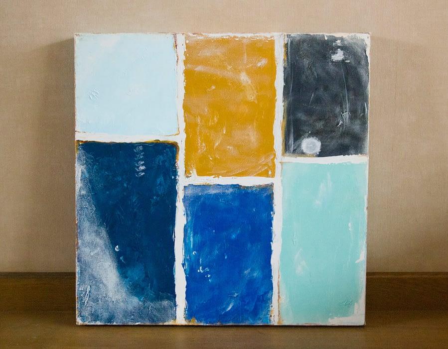Grungy Blue Abstract Schilderij