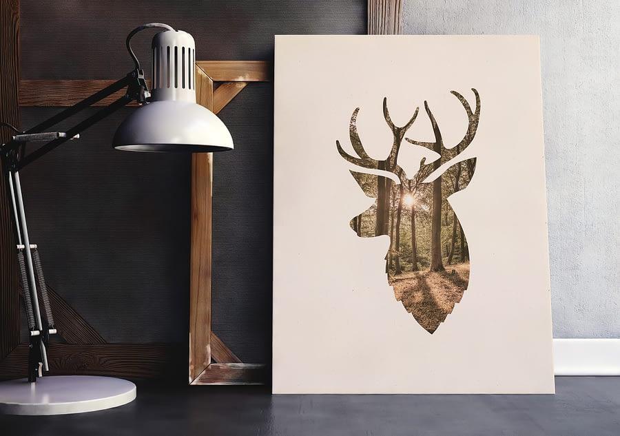 Scandinavische wandddecoratie met hert