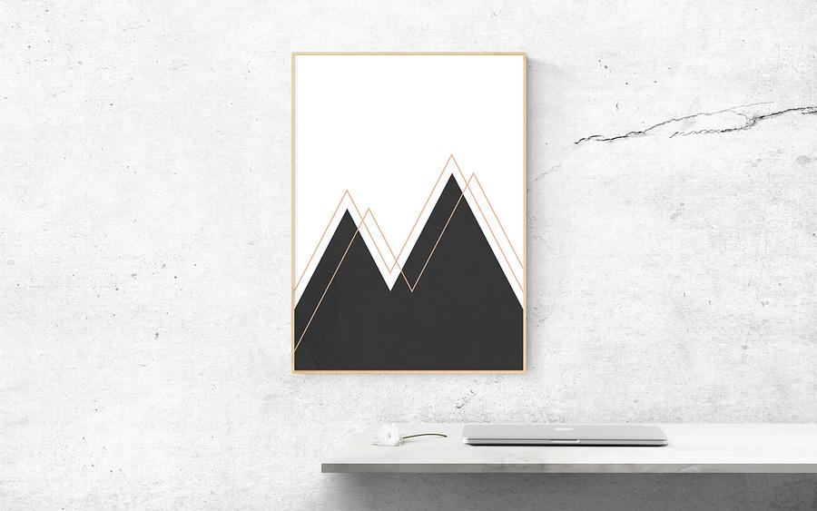 Abstract Mountains Moderne Scandinavische Wanddecoratie