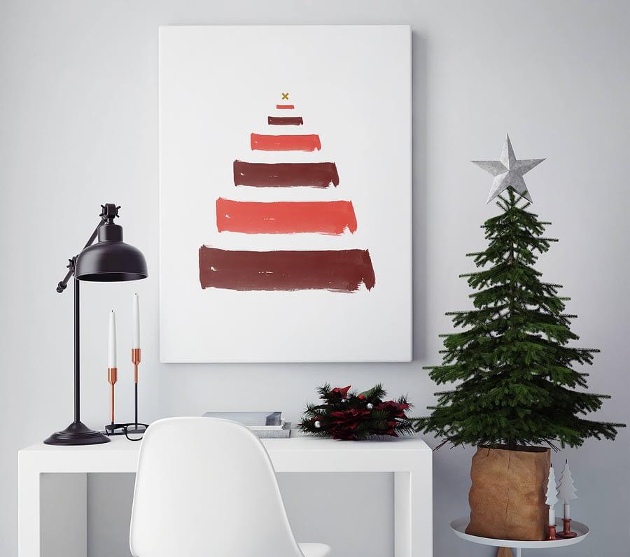 Verfstrepen kerstboom poster en print
