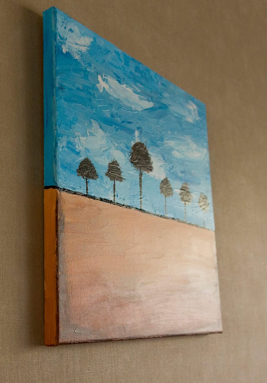 abstract schilderij bomen landschap