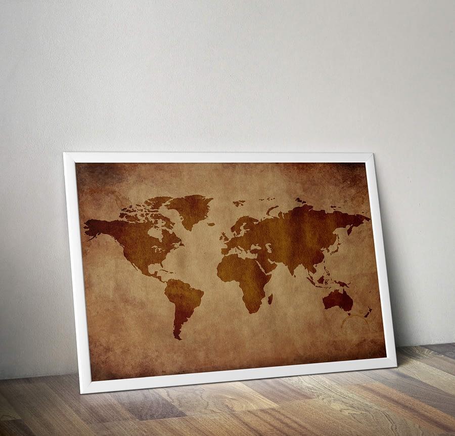 Vintage Wereldkaart met verweerde look