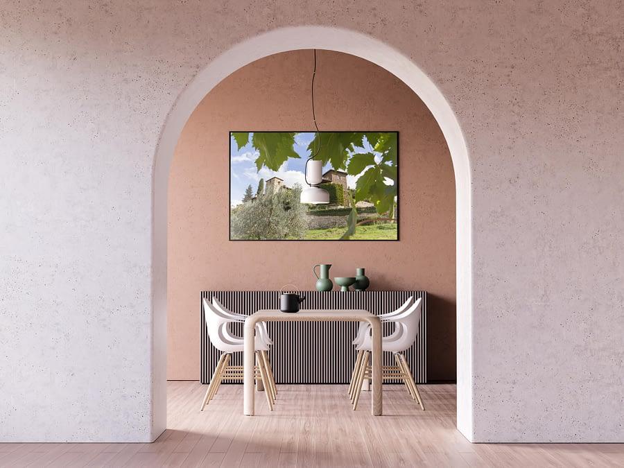 Toscaans Dorp Montefioralle - Door Het Druivenblad Poster - Wanddecoratie