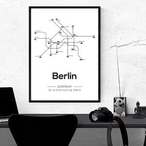 Berlijn metro lijnen kaart moderne poster