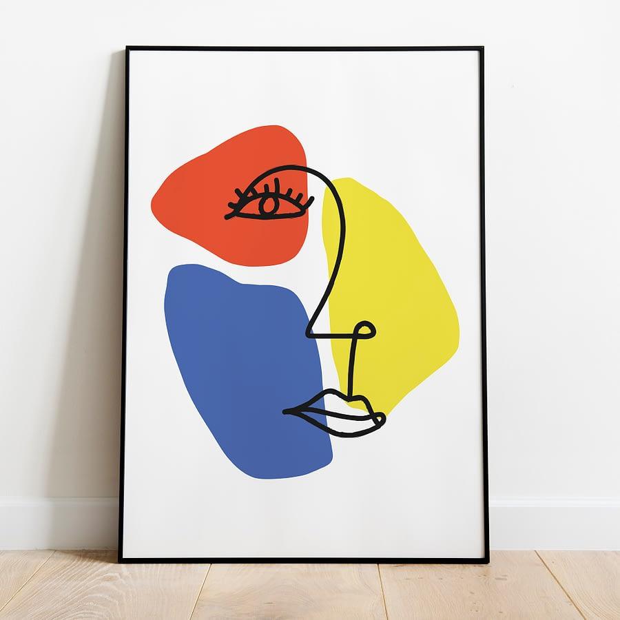 Gezicht Lijnen met abstracte vormen in geel, rood en blauw