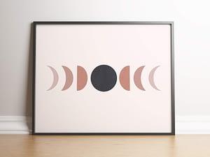 Maan fasen poster en print