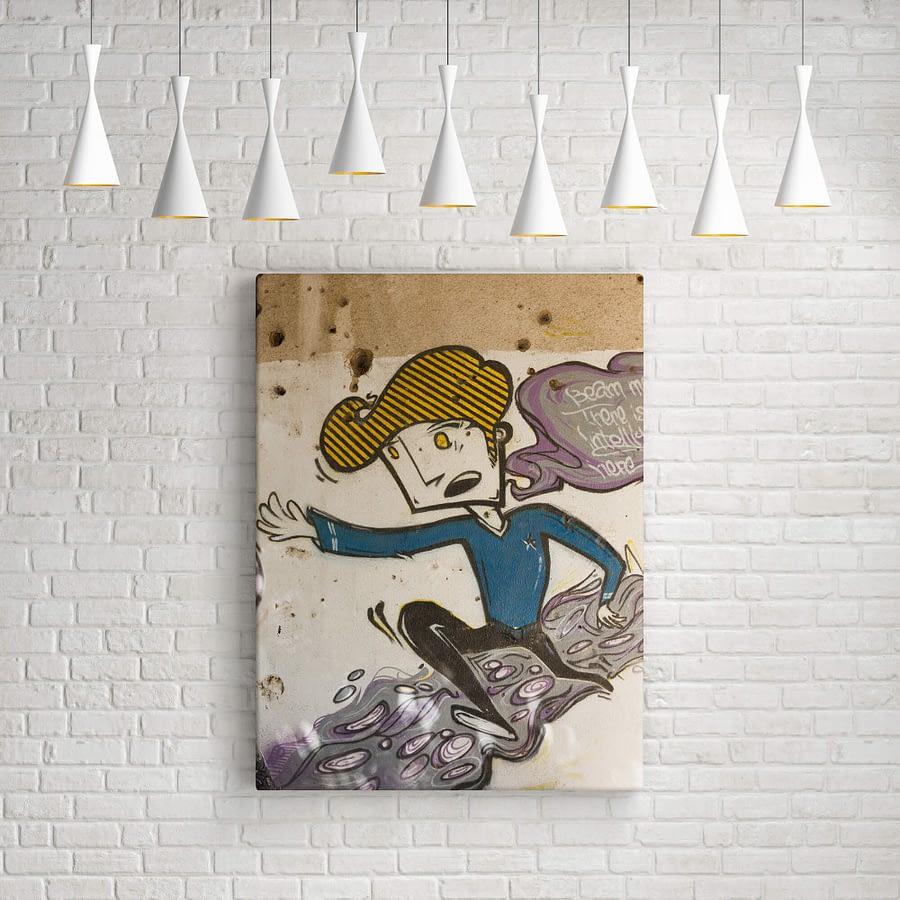 Running Boy Street Art op canvas