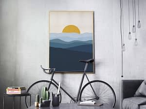 Blauw Landschap Poster - Scandinavische Wanddecoratie