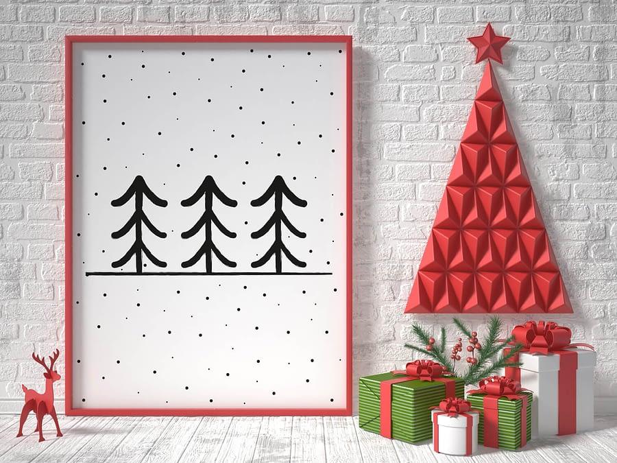Scandinavische poster design: Dennenbomen in de sneeuw