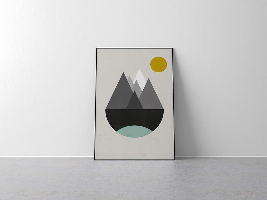 Abstracte Retro Berglandschap Poster - Scandinavische Wanddecoratie