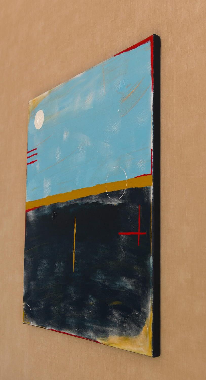 Abstract Blauw en Okergeel Kunstwerk