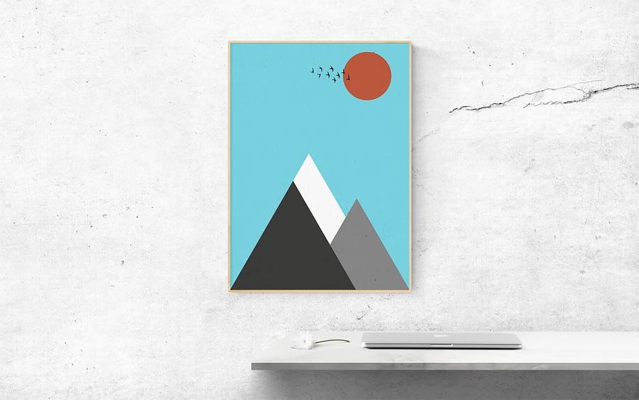 Abstract Berglandschap Poster