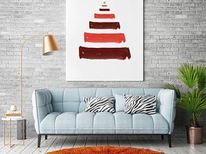 Kerstboom Brush strokes poster en print