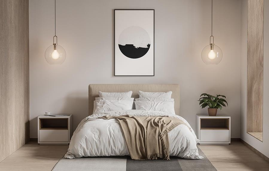 Minimalistische geometrische poster in zwart-wit - Scandinavische Wanddecoratie