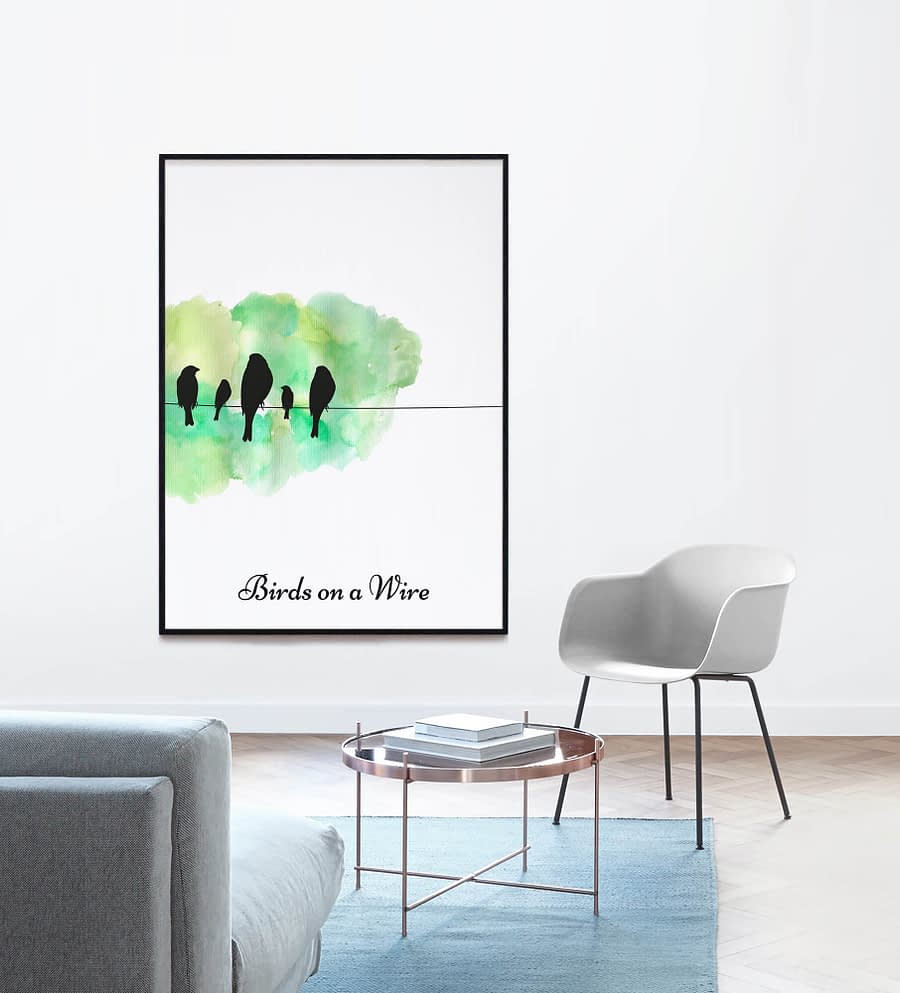 Birds on Wire Poster (Groen)