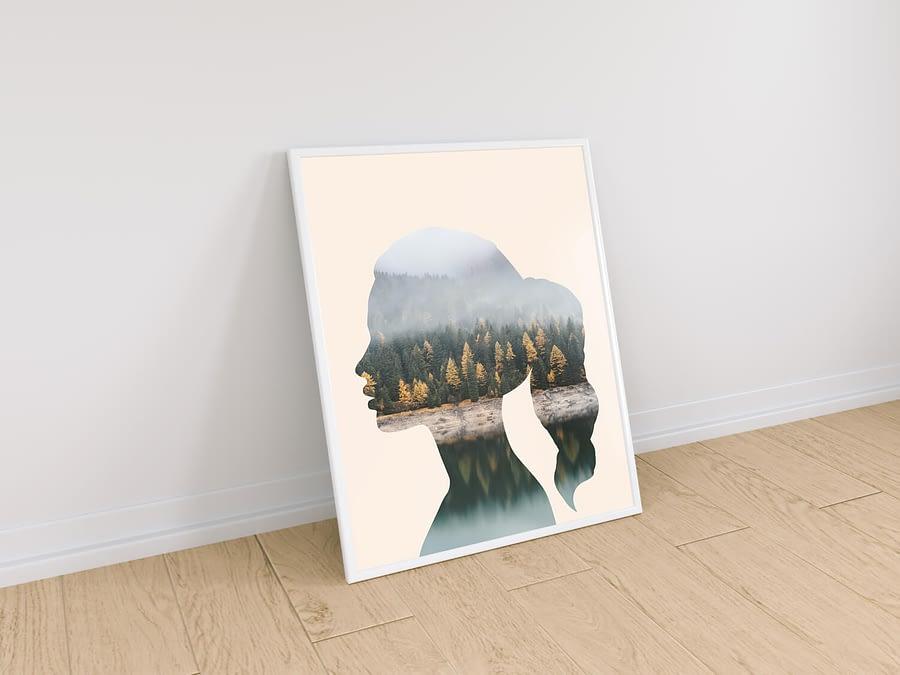 Woman & Nature - Moderne Muurdecoratie