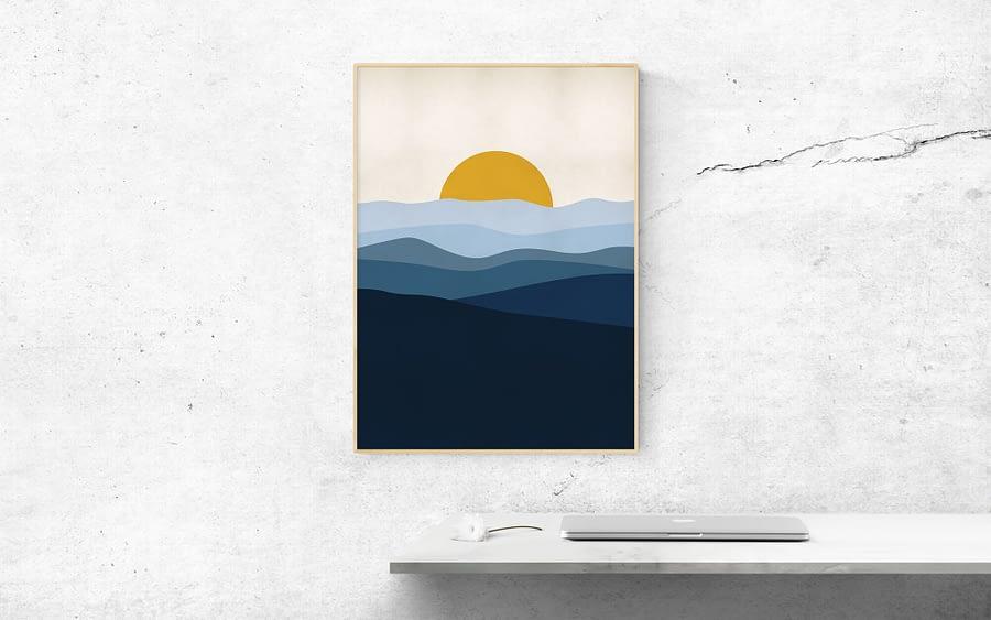 Blauw Landschap Scandinavische Poster