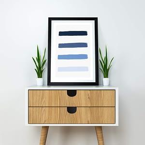 Ocean Blue brush strokes poster