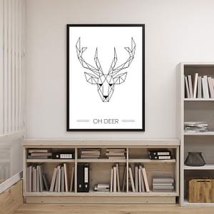 OH Deer geometrischc poster en print