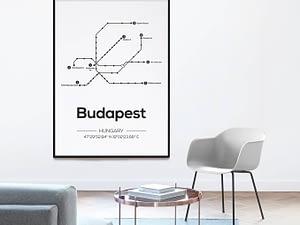 Metrolijnen Boedapest poster - Moderne Muurdecoratie