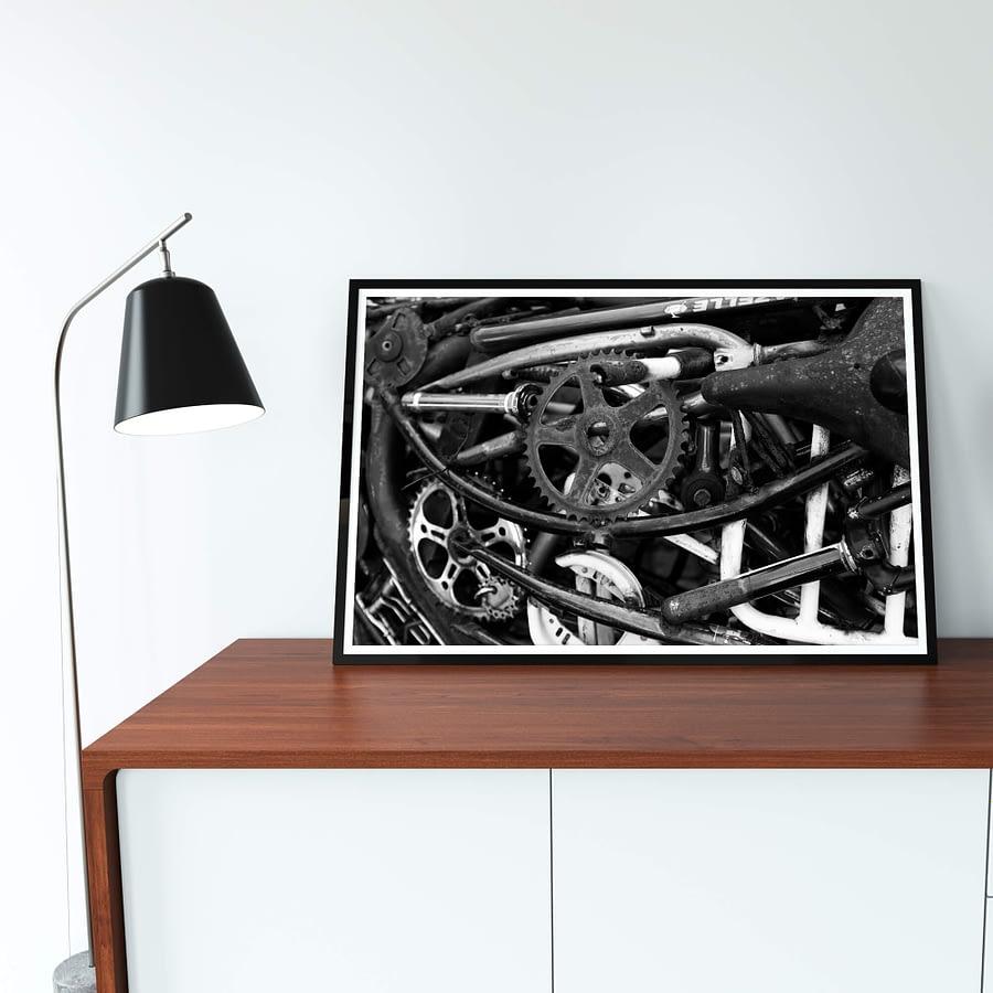 Industriële zwart wit Fietsen Poster