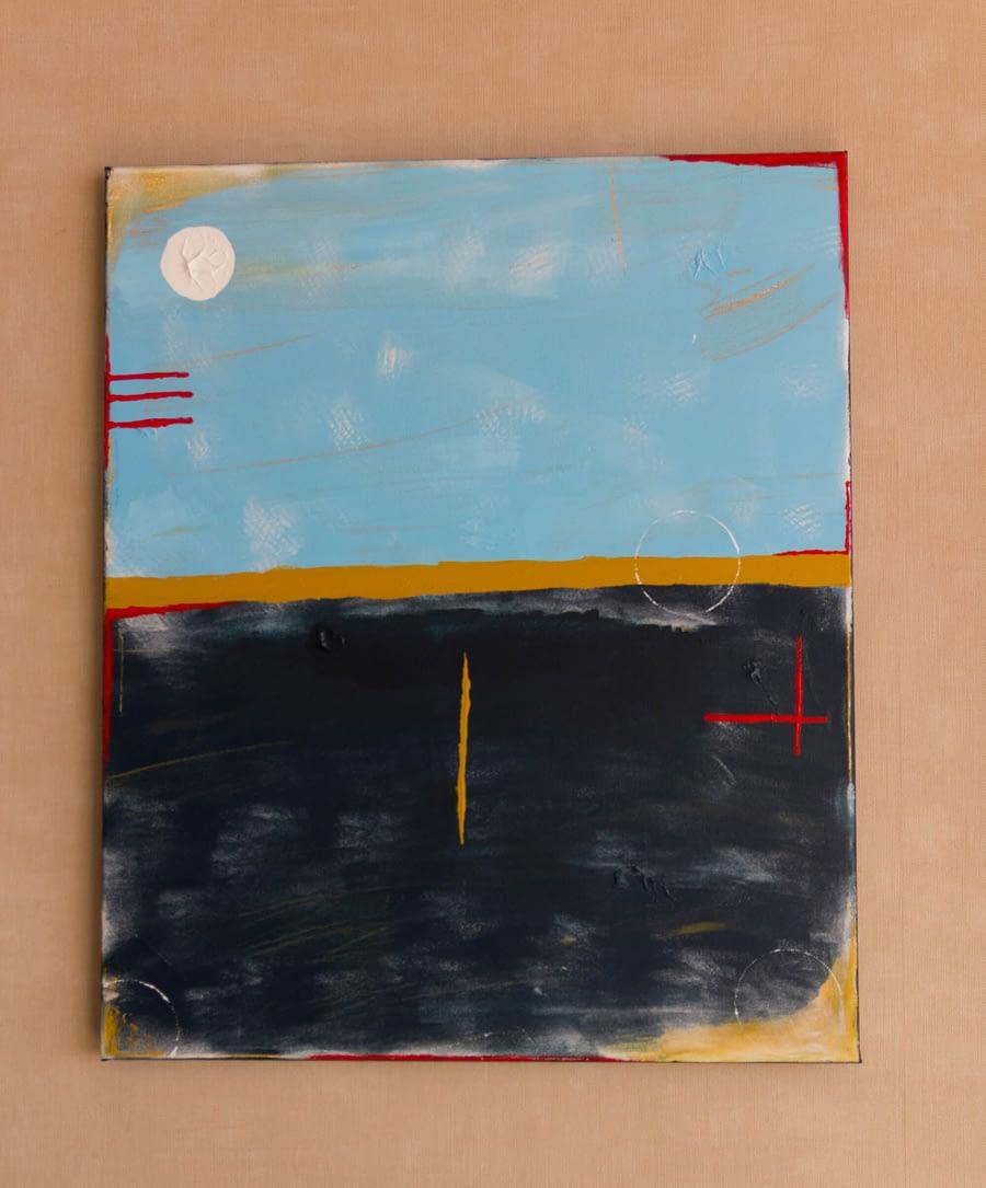 Abstract Blauw en Okergeel Schilderij - Moderne Kunst